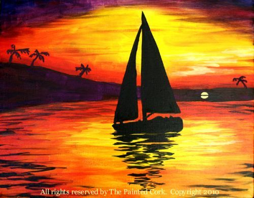 Easy Sailboat Painting Sunset sailboat silhouette ~ wine ...