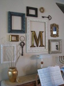 love the idea of a monogram inside an empty frame - Picture Frame Design Ideas