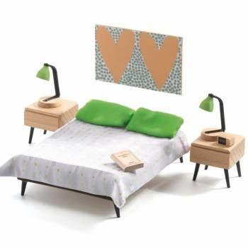 Moderne meubeltjes voor een modern poppenhuis van Djeco! Zeker de moeite!