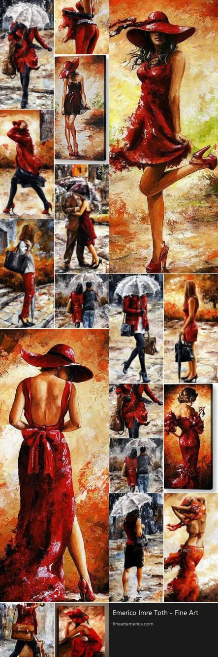 Series 'Ladies In Red' by Emerico Imre Tóth, is an Hungarian painter. Compare ~ Andre Kohn + Emerico Imre Tóth... *Интересно, они работают параллельно или всё же тут плагиат?