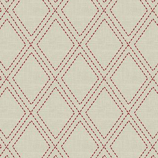 Red Stitched Diamond Trellis Fabric   Contemporary   Upholstery Fabric   By  Loom Decor