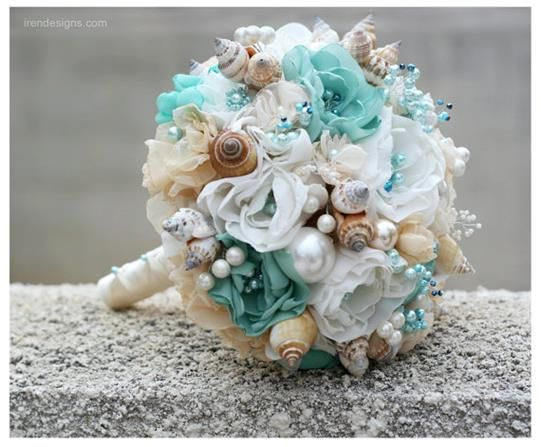 Celadon and Beige Seashells Wedding Bouquet for by IrenDesigns