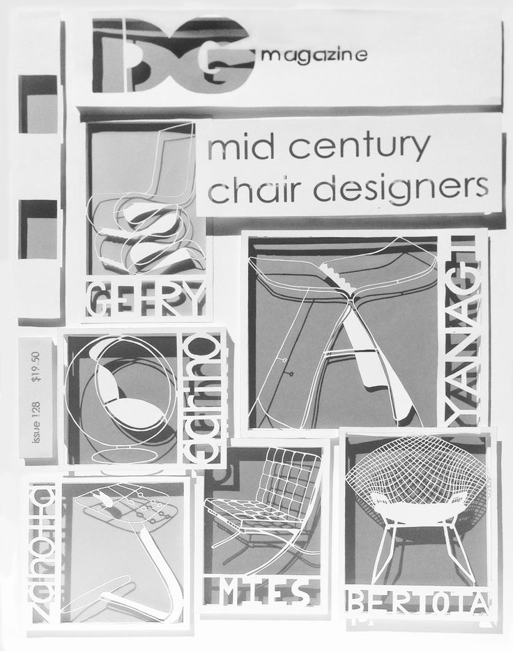 Magazine cover design image created though laser cut paper (from scanned images created by students).