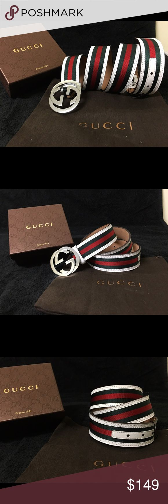 Gucci Men Belt White Green Red Stripes Sz Fits All Authentic Men's White Green Red Belt Stripes Sizes for all NWT • US size in (parenthesis) next to Euro Size • 100% Authentic • Free PRIORITY 1-3 Day shipping • 1 Day handling Gucci Accessories Belts