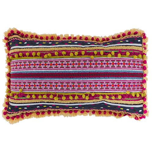 Boho 70's Moroccan Cushion, it is all happening with this stunning cushion. Lots of colours, pom pom's, mustard, red, lime green and plum. A perfect outdoor or indoor cushion to update your décor. Fabric cotton. Measurements; 50x35x10 cm