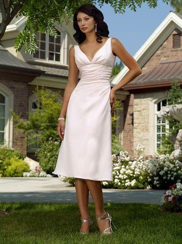 White V-neck Tea Length Empire Waist A-line Wedding party dress