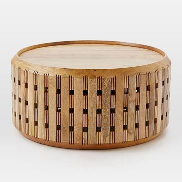Pierced Wood Drum Coffee Table #westelm