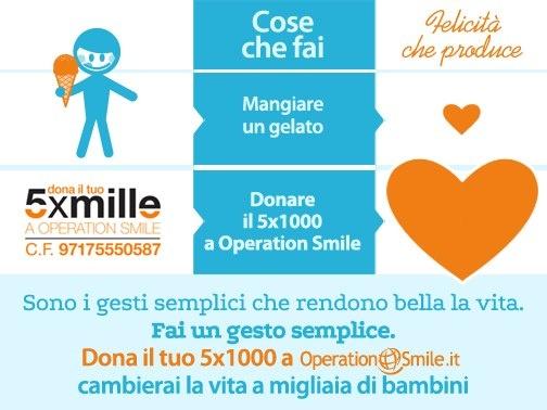 Sorridere è una cosa semplice. Come mangiare un gelato. Fai un gesto semplice, dona il tuo #5x1000 a Operation Smile. Tanti bambini potranno sorridere grazie a te