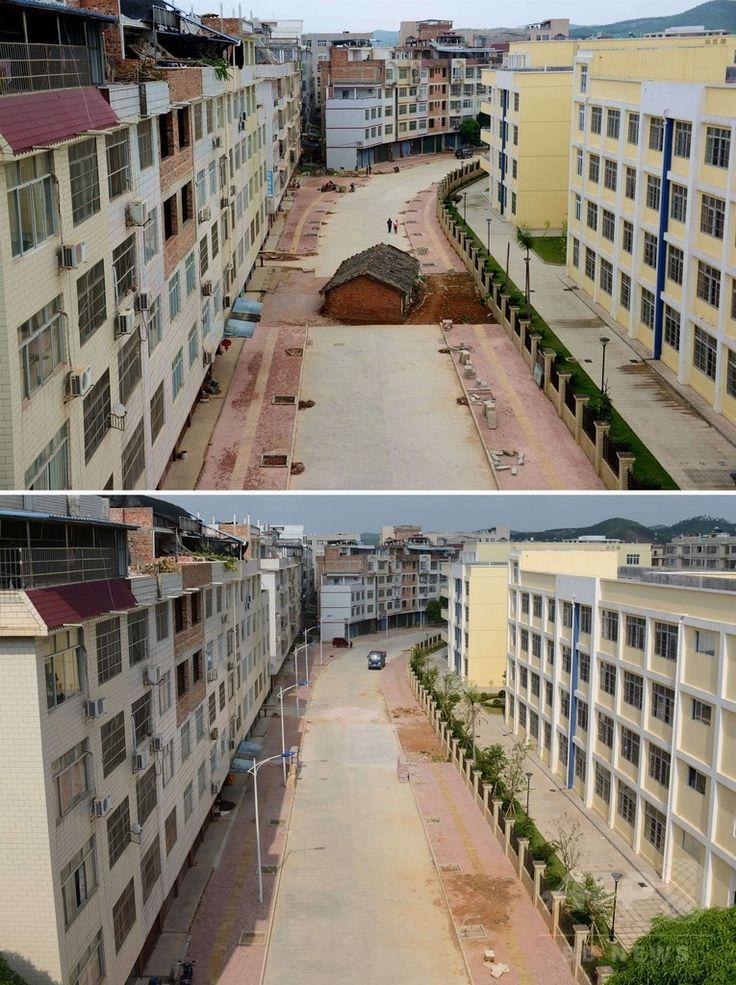 中国南部・広西チワン族自治区南寧で、道路の真ん中にたたずむ「くぎの家」(上)と、建物が撤去された後の状況を比較した画像(上は2015年4月10日撮影、下は2015年5月28日撮影)。(c)AFP ▼13Jun2015AFP|土地開発に沸く中国、立ち退きに抵抗する「くぎの家」 http://www.afpbb.com/articles/-/3051315 #南宁 #Nanning #钉子户 #Nail_house