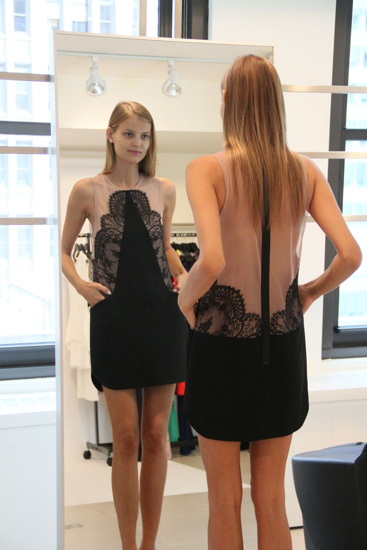 Kate is channeling her romantic side in this stunning lace-detailed dress with dynamic color-blocking. #bcbg