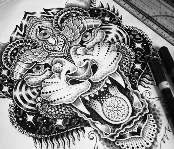 Image result for mandala black and white panda tattoos - Mandalas de tigres ...