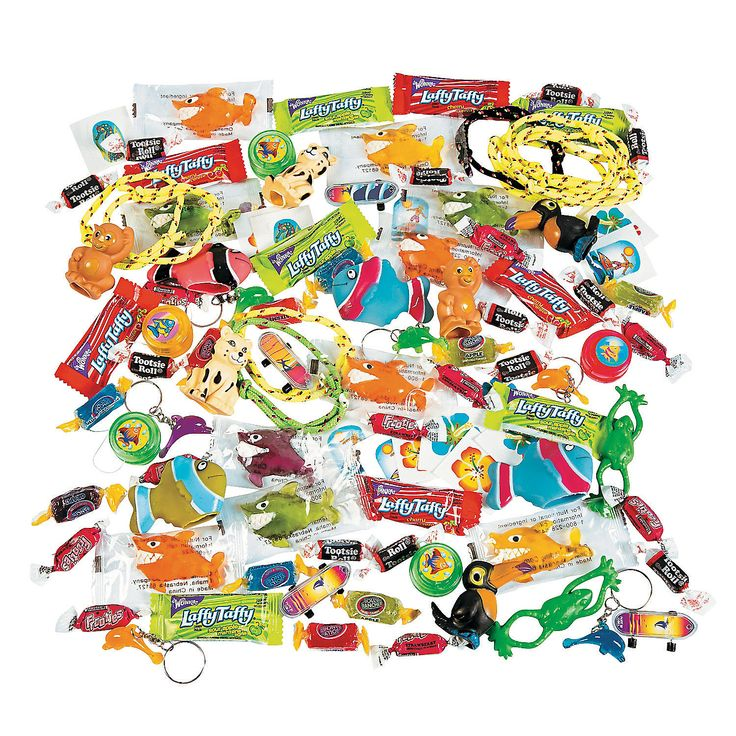 Order a bunch of these. No worries about separating the prizes. Tropical Toy & Candy Assortment - OrientalTrading.com