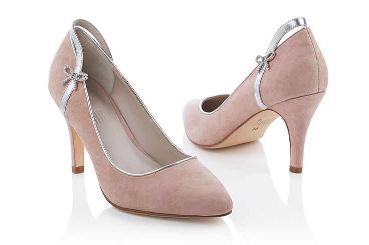 #Jakii Brooke [Pink suede pumps with bow accent]