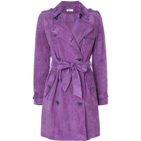 Desa 1972 double breasted trench coat ($1,286) ❤ liked on Polyvore featuring outerwear, coats, long sleeve coat, double breasted coat, suede coat, short trench coat and suede trench coats