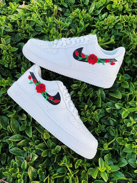 Red Lonely Rose Nike AF1, Nike Air Force One, Nike Fashion Shoes ...