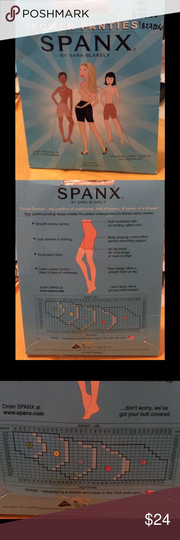 NEW ORIGINAL SPANX SIZE C POWER PANTIES COLOR BARE New in the pack that has some shelf wear to it, please see photos, ORIGINAL SPANX, POWER PANTIES, SIZE C COLOR BARE. PERFORMANCE UNDERWEAR THAT SLIMS TUMMY, THIGHS AND REAR, NO PANTY LINES, WITH A CITTON GUSSET SO YOU CAN WEAR THEM AS PANTIES...NON SMOKING HOME, BUNDLES WELCOMED OR MAKE SN OFFER AND LOOK YOUR BEST THIS HOLIDAY SEASON ...THANK YOU FOR LOOKING, I HAVE THESE IN BLACK TOO... SPANX Intimates & Sleepwear Shapewear