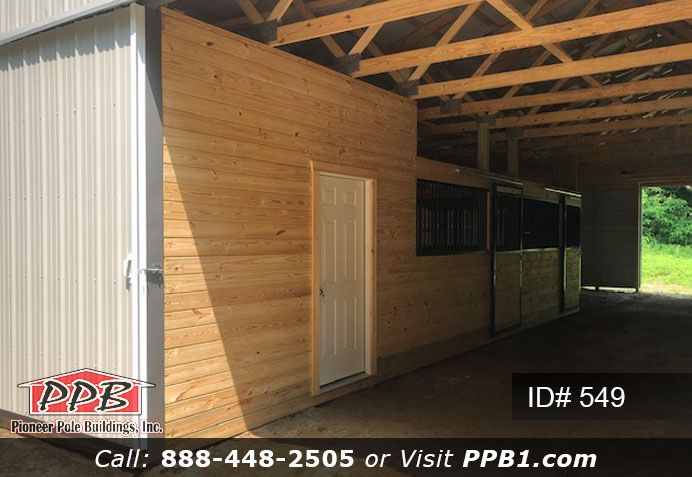 6 12 X 12 Horse Stalls 1 12 X 12 Tack Room With Solid Entry Door And Liner Panel On Ceiling Pinedutchdoors 10ftpol Horse Stalls Barn Design Tack Room