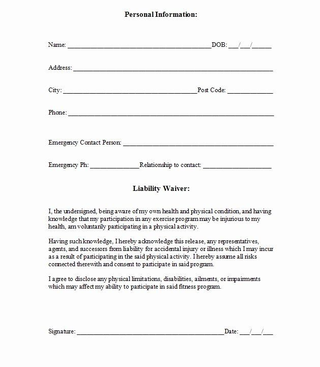 24 Liability Waiver Form Template Free In 2020 Liability