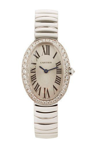 18k gold and diamond vintage cartier small baignoire by LSC DESIGN ESTATE JEWELRY for Preorder on Moda Operandi