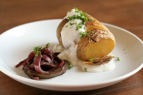 Hasselback Potatoes with Garlic Yogurt and Red Onion Jalapeno Confit
