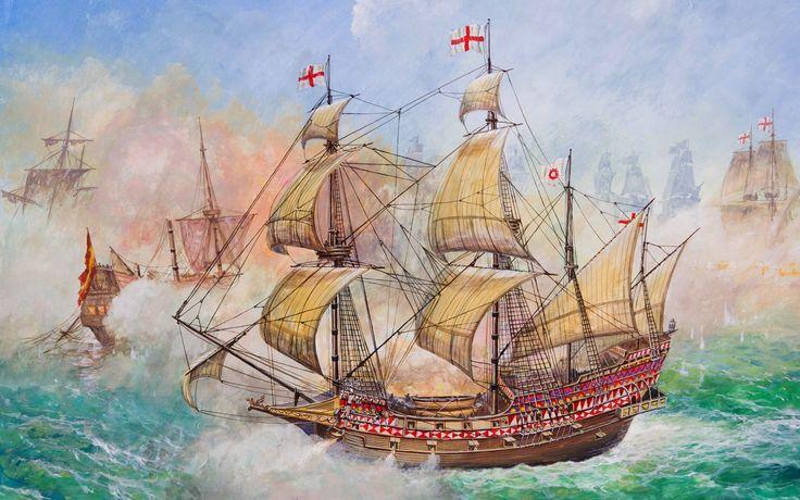 HMS Revenge in combat against the Spaniards