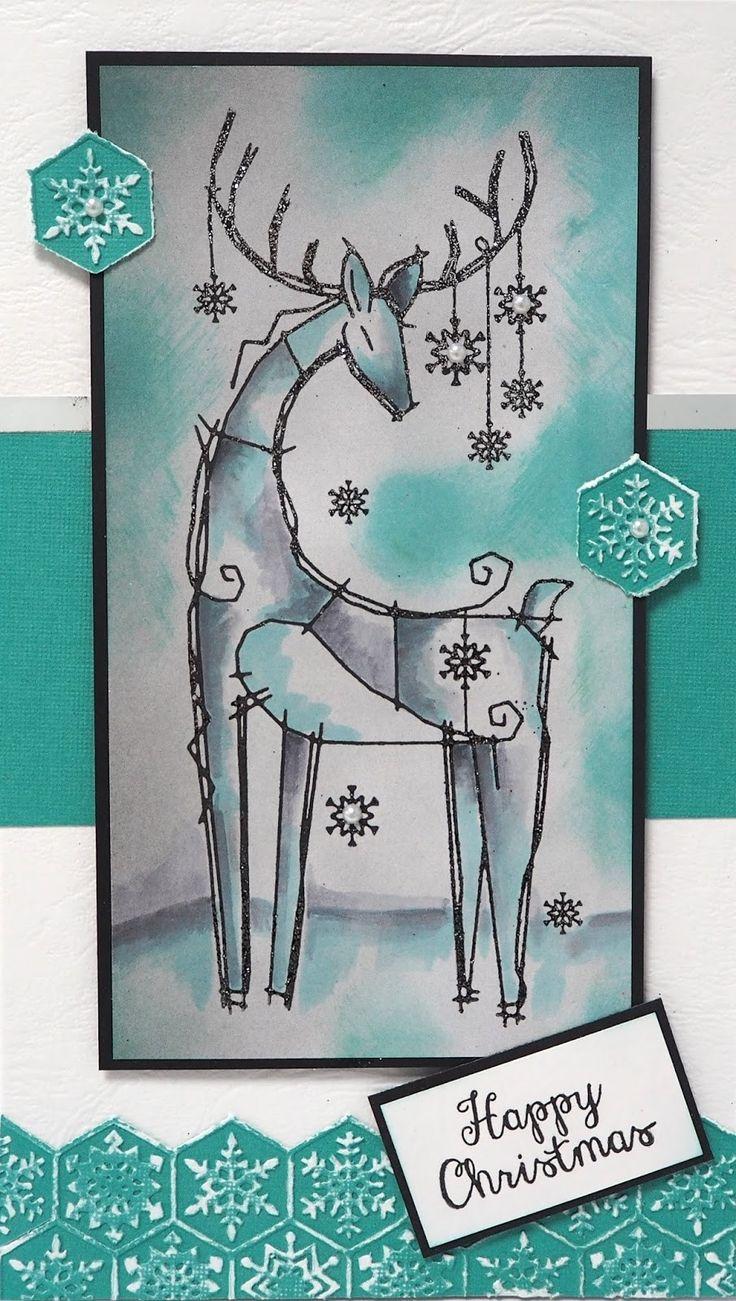 FRS655 Woodware Clear Stamp Set - Snowflake Reindeer    Crafts U Love