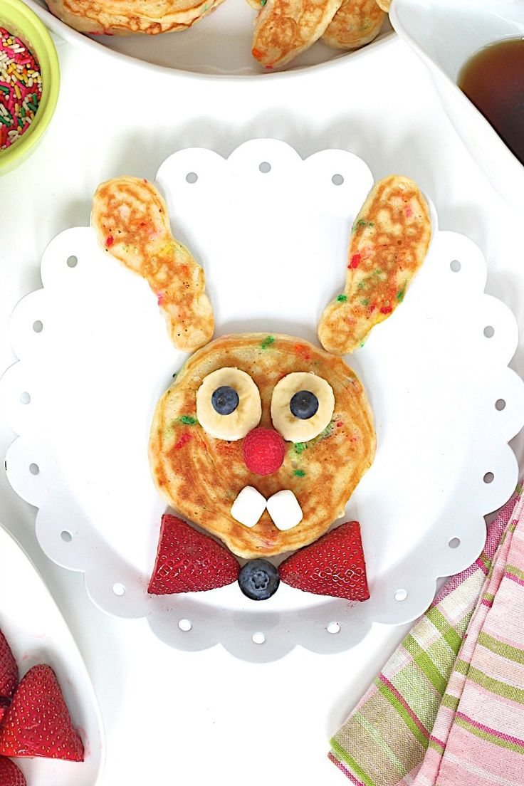 Bunny Pancakes | Make Easter morning extra special with these adorable and delicious bunny pancakes! @thebakermama
