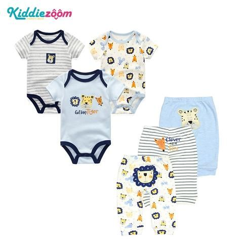 e17f3f337f 6PCS/LOT Newborn Baby Rompers+ Pants O-neck Baby Jumpsuit 100% Cotton Baby  Girl Clothing Pants Ropa Bebe New Baby Clothes Sets