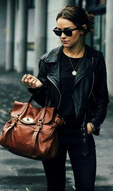 black tee + black jeans + leather jacket + wayfarers