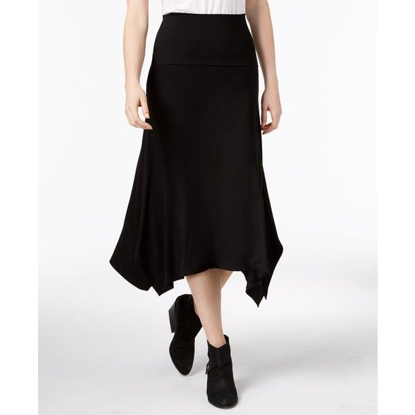 Eileen Fisher Stretch Jersey Asymmetrical Midi Skirt featuring polyvore women's fashion clothing skirts black stretch jersey asymmetric hem skirt asymmetric midi skirt calf length skirts asymmetrical skirts