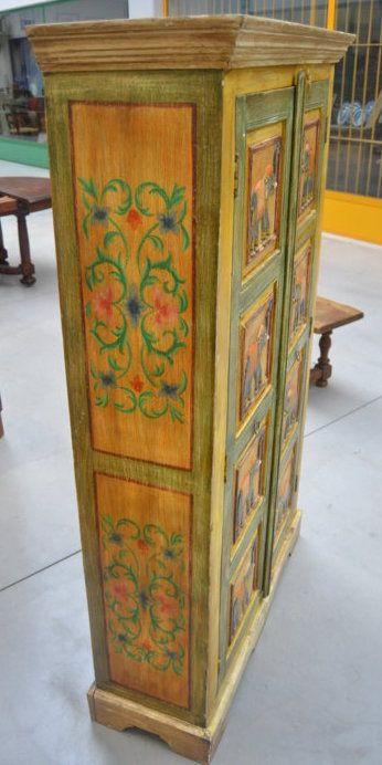 Armadio libreria indiano laccato dipinto a riquadri con 8 elefanti+