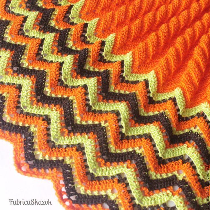 Купить Яркий оранжевый детский плед из хлопка - комбинированный, в полоску, детский плед, детский пледик