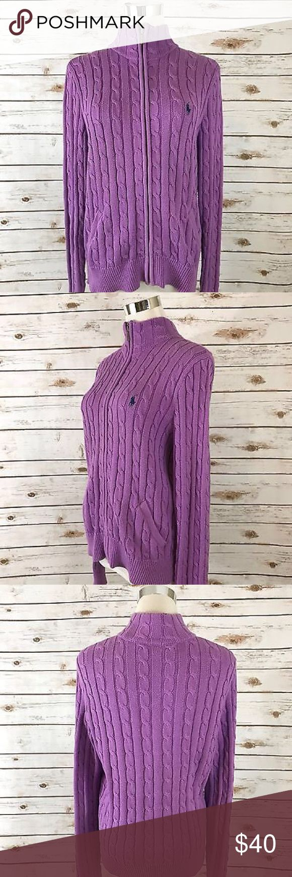 Ralph Lauren L Cardigan Sweater Full Zip Up  LARGE Women's Ralph Lauren L Cardigan Sweater Full Zip Up PURPLE Cable Knit LARGE.                Chest  38 length 23 Ralph Lauren Sweaters Cardigans
