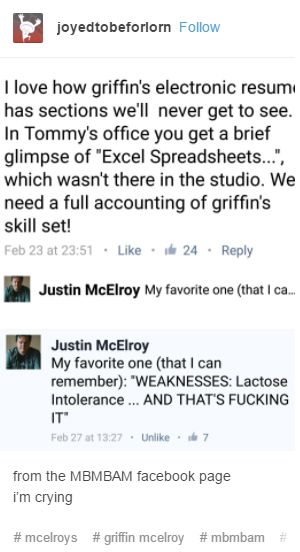 Justin McElroy on Griffin's resume - MBMBAM Seeso #mbmbam