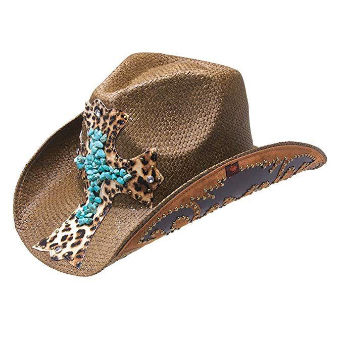 Peter Grimm Ltd Womens Zeke Leopard Print Cross Straw Cowgirl Hat Pgd5096-Brn-O