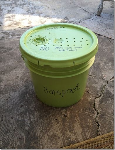 DIY Compost Bucket:  Good idea to label it, so everyone knows what not to put in there.