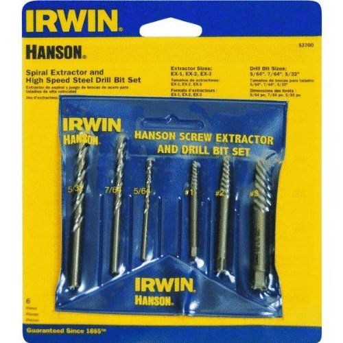 6 Piece Spiral Screw Extractor & Drill Bit Set 53700. Irwin. 53700 Dimensions: -Overall Product Weight: 0.14. Drill Bits & Accessories. Dimensions: weight: 230, width: 100, height: 575 hundredths-inches.