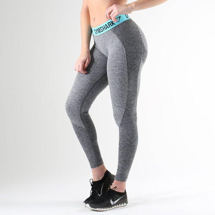 Gymshark Flex Leggings - Charcoal Marl/Pale Turquoise at Gymshark UK | Be a visionary.