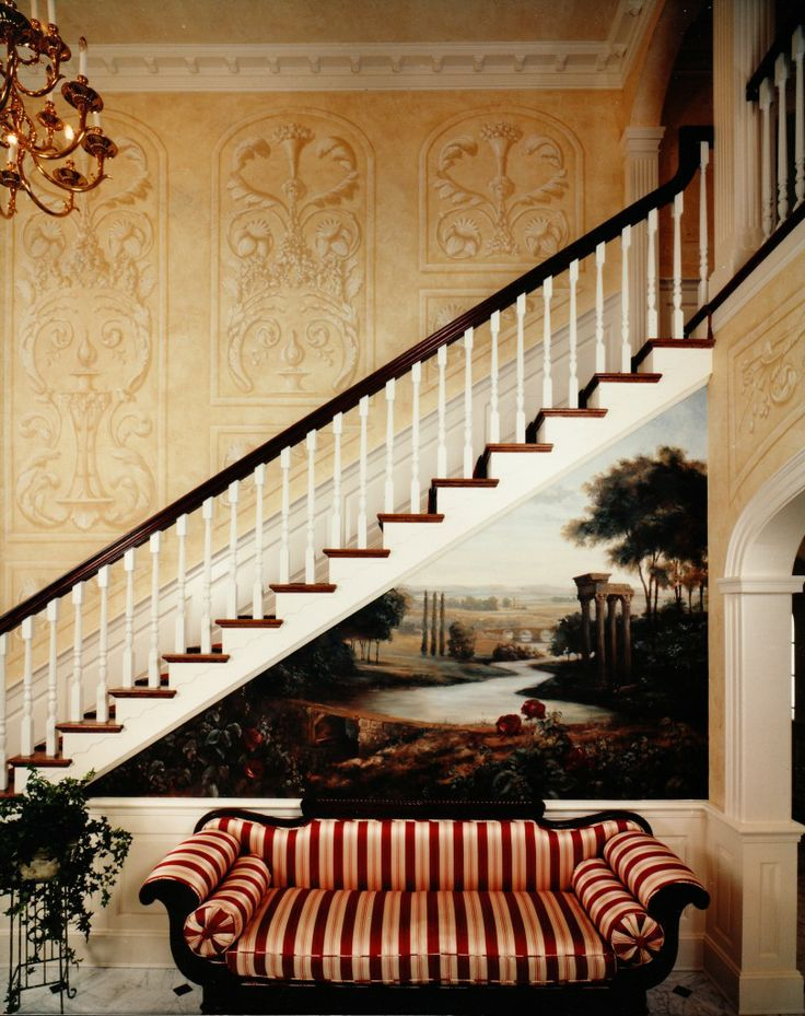 Grisaille Stairwell and French Landscape Mural