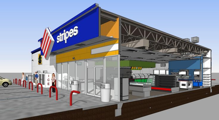 A cutaway render of one of HFA's designs for a Stripes convenience store.