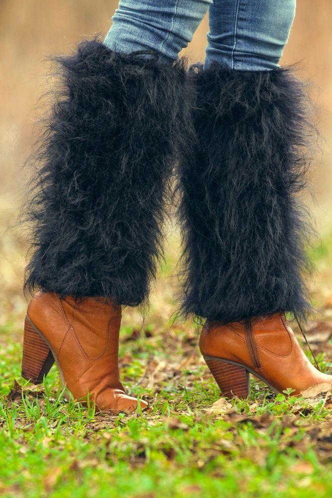 SUPERTANYA Hand knitted mohair spats fuzzy gaiters BLACK handmade leg warmers #SuperTanya #Casual