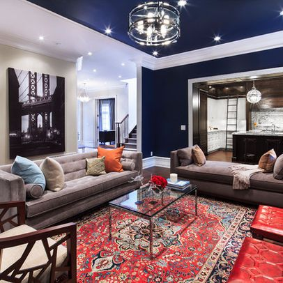 Living Photos Navy Living Room Design Ideas, Pictures, Remodel, and Decor - page 2