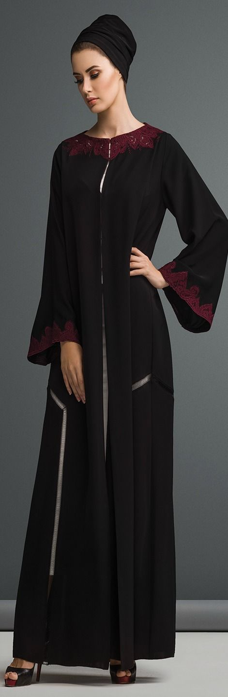 Mauzan abaya Dubai..Work : Kashmiri lace with embroidery design Fabric : Black Crepe