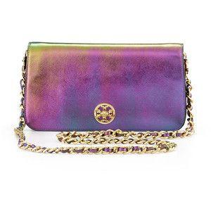 """If the Tory Burch Adelyn Metallic Clutch Bag fits, wear it!"" @Polyvore #ShopPolyvore #metallic"