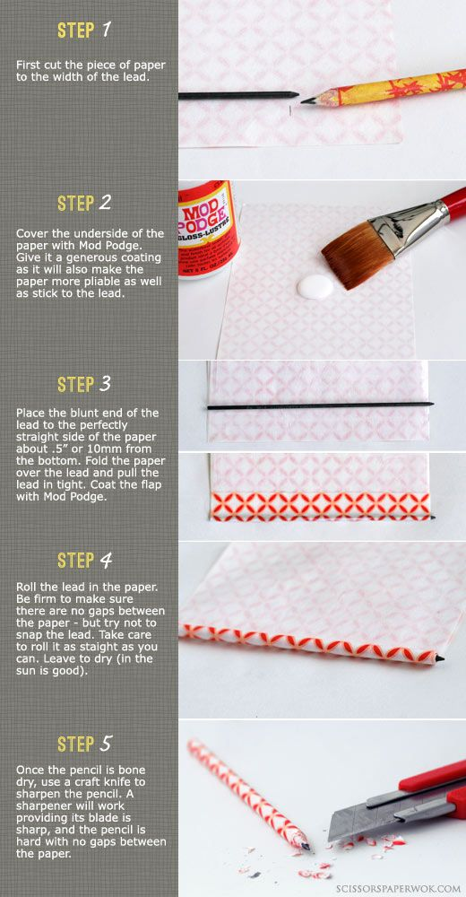Make your own covered pencils with paper and Mod Podge #crafts