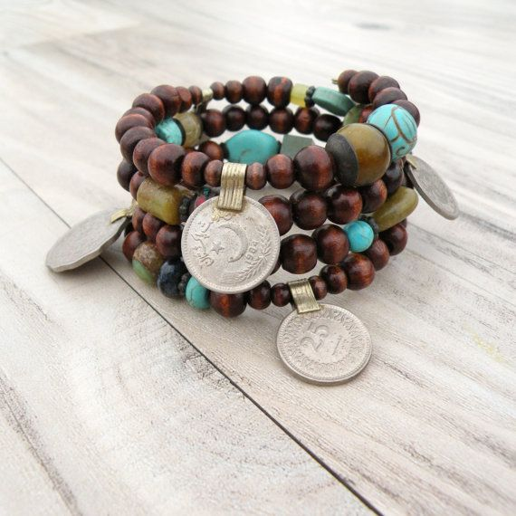 Wood and Vintage Gypsy Metalwork Bracelet - Memory Wire Coil Bracelet, Olive and Turquoise Accents