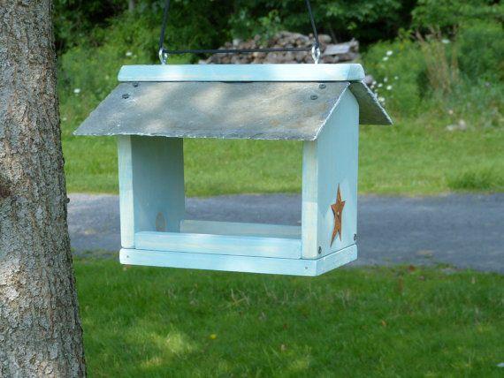 Slate Roof Wooden Hanging Platform Bird Feeder by OutOnALimbADK
