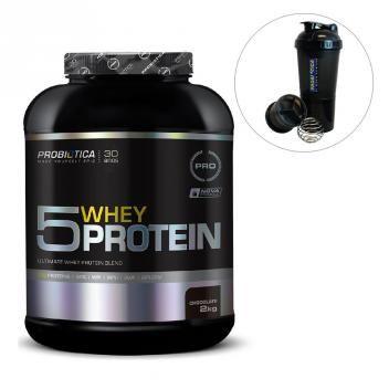 dd519b6b8 5 Whey Protein 5 2kg Probiótica Pro Coqueteleira 600ml ...