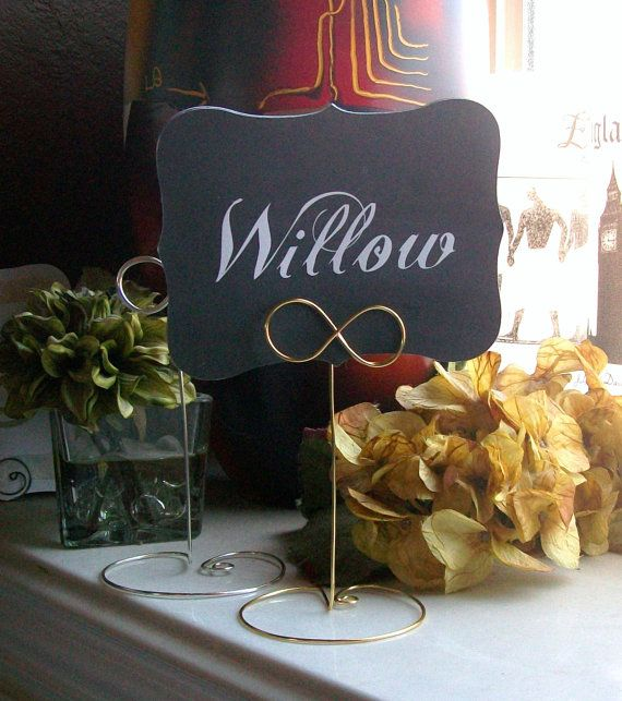 INFINITY Tall Wire Table Number Holder Heart or by paperpixie