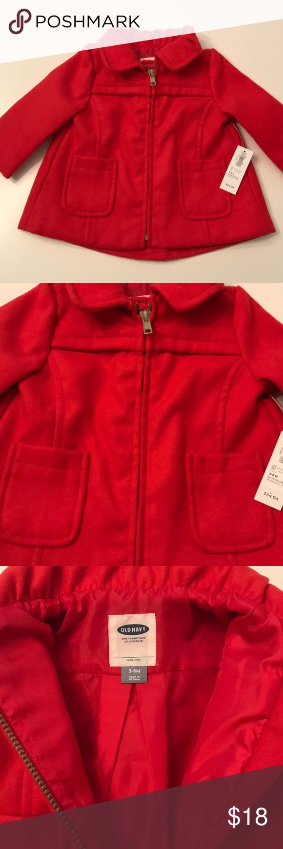 Infant Pea Coat NWT red pea coat. Lined. Never worn and in perfect condition. Old Navy Jackets & Coats Pea Coats